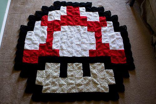 Super Mario Bros. mushroom crochet blanket