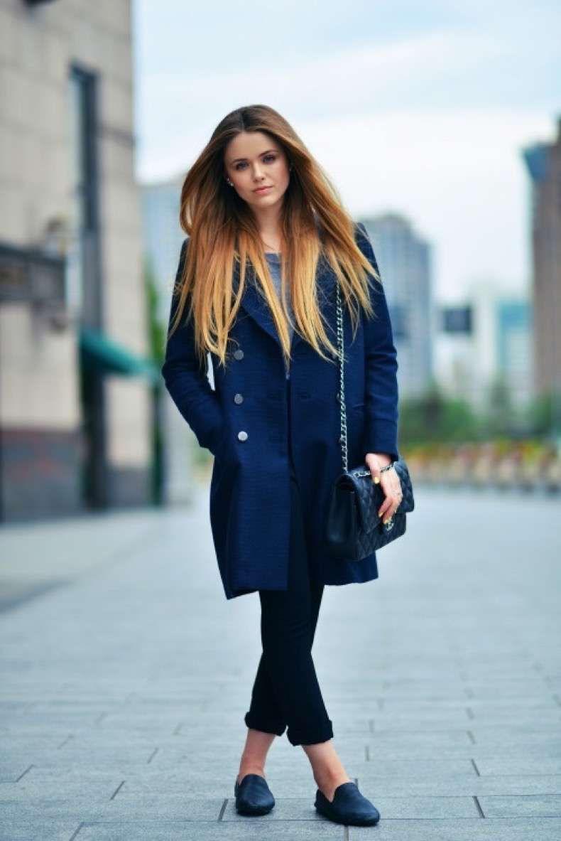 30 Ideas Para Usar Un Abrigo Azul Marino   Abrigos y