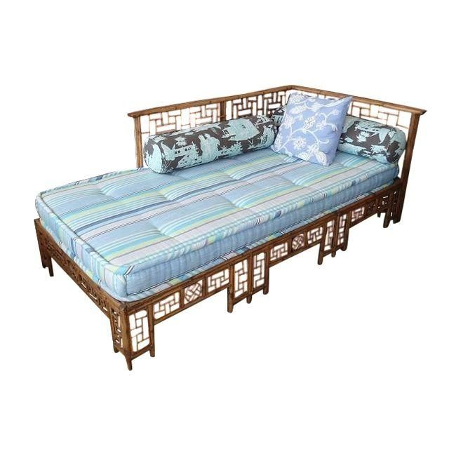Asian Bamboo Lattice Daybed W/ Striped Cushion Daybed, Striped
