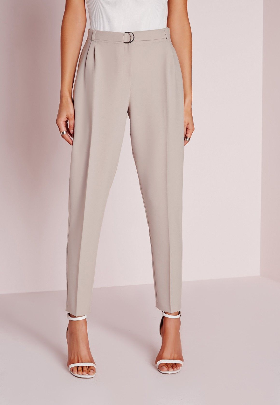1f5154c1 Missguided - Fabric Belt Cigarette Trousers Grey | Cloths | Fashion ...