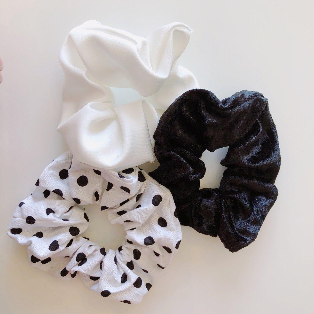 Bobble A Black Blue And White Spot Velvet Ruffle Scrunchie Ponytail Band
