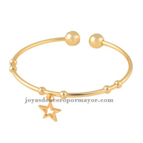 pulsera dorado con dijes estrella de joyas modernas por mayoreo