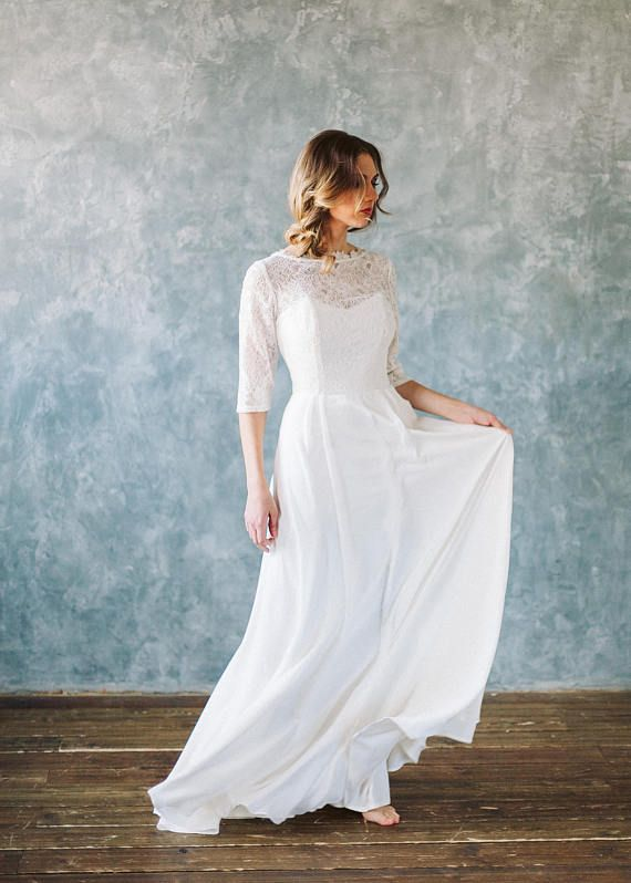 long sleeve wedding dress wedding dress lace open back boho bohemian ...