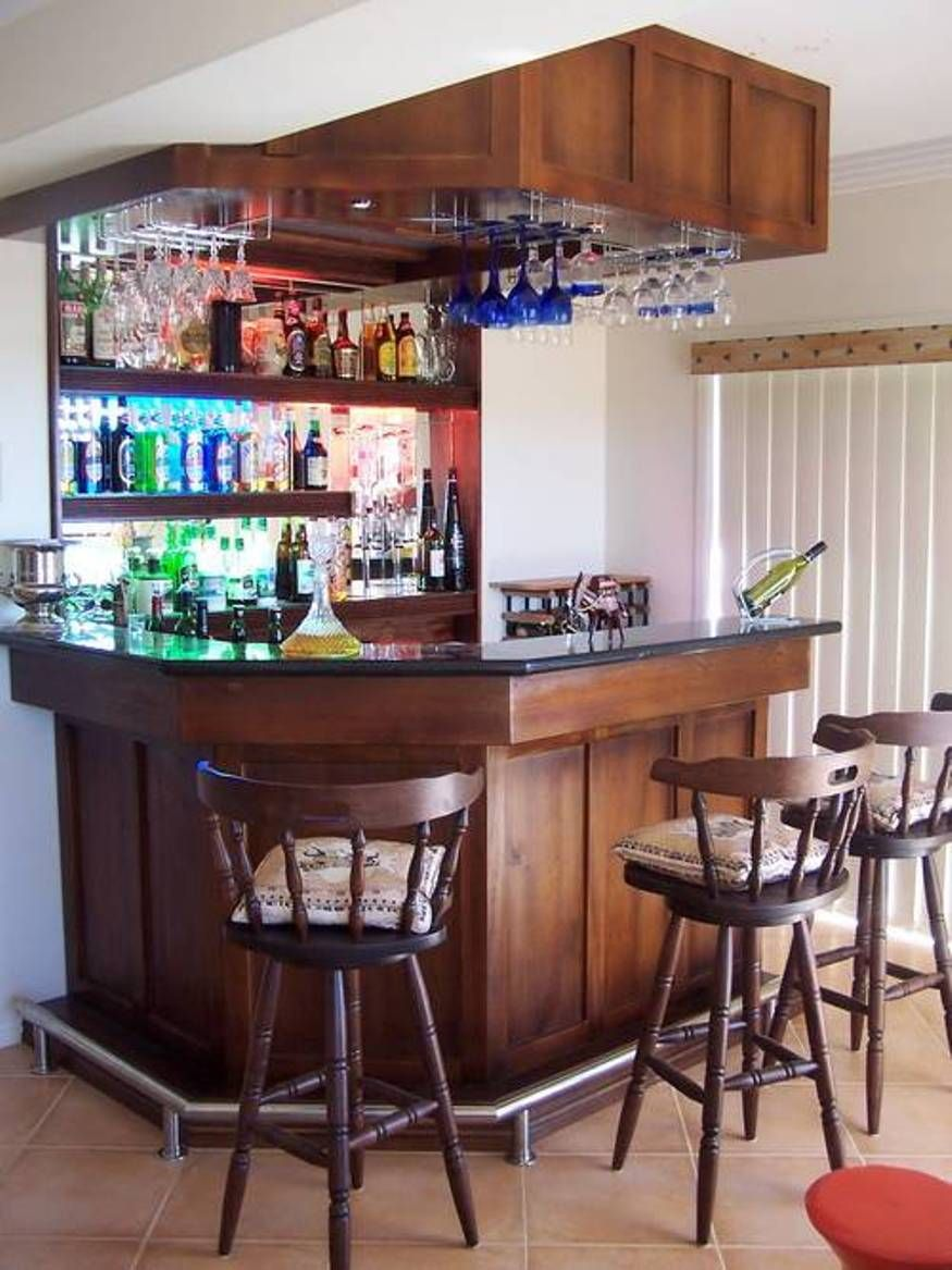 Mini Bar For Home With Hanging Wine Glass Rack And Open Shelving   Bar Ideas in 2019  Bars