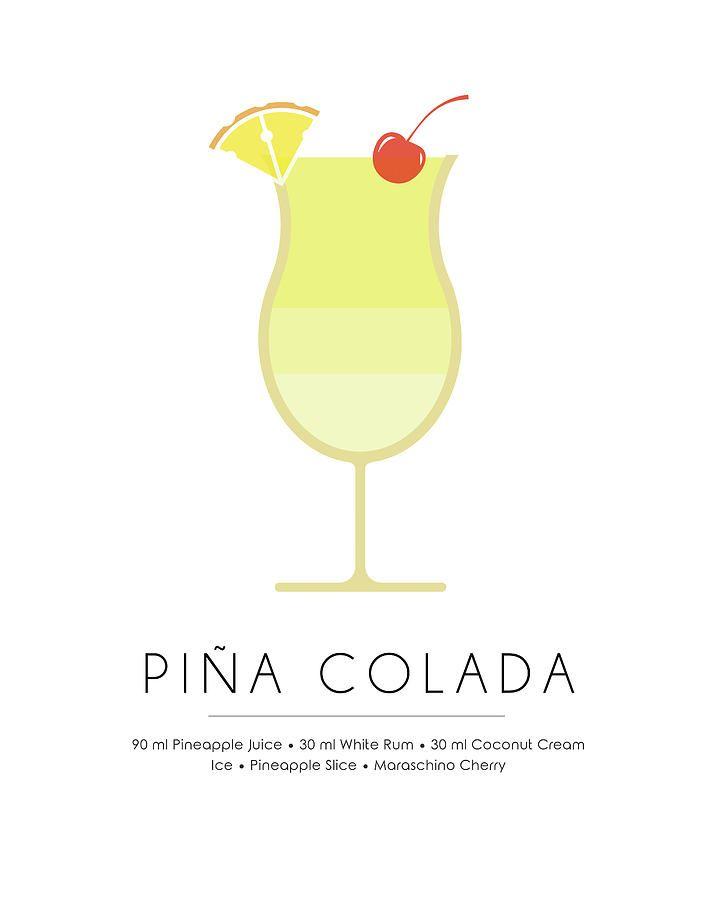 Pina Colada Classic Cocktail Minimalist Print Mixed Media By Studio Grafiikka Cocktail Book Cocktails Cocktail Art