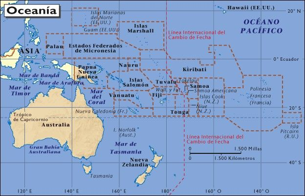 Large map of Australia and Oceania, easy to read and printable - new world map fiji country