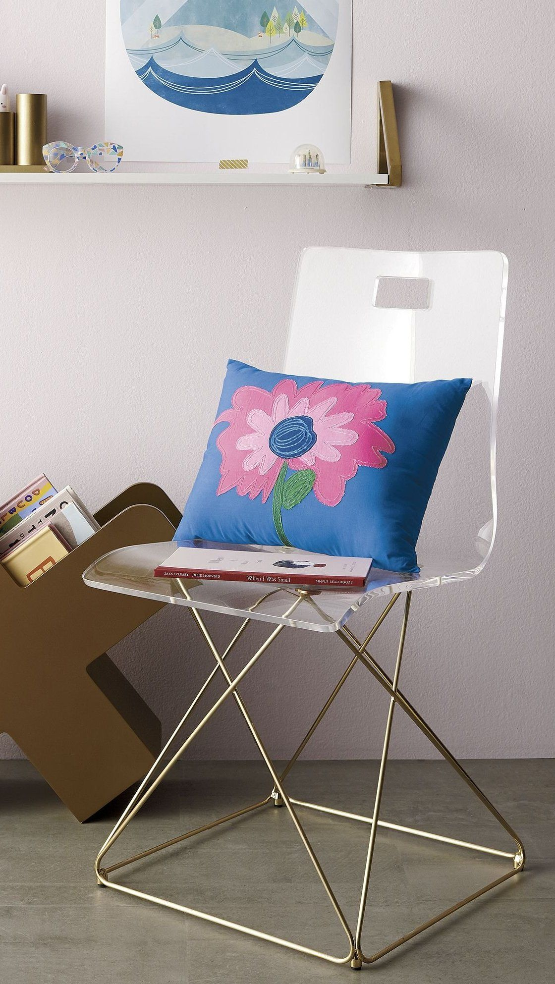 Kids Now You See It Acrylic Desk Chair With Gold Base Reviews