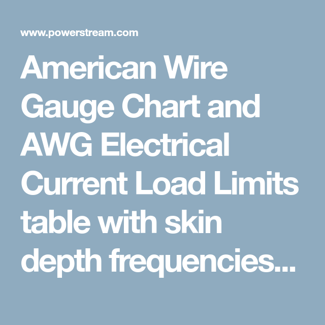 American wire gauge chart and awg electrical current load limits american wire gauge chart and awg electrical current load limits table with skin depth frequencies and greentooth