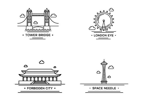 世界の観光名所をアウトラインで描いたシンプルなイラストアイコン