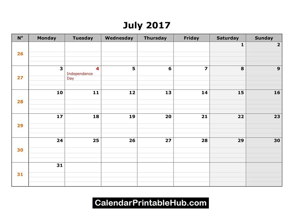 July 2017 Printable Calendar Httpcalendarprintablehubjuly