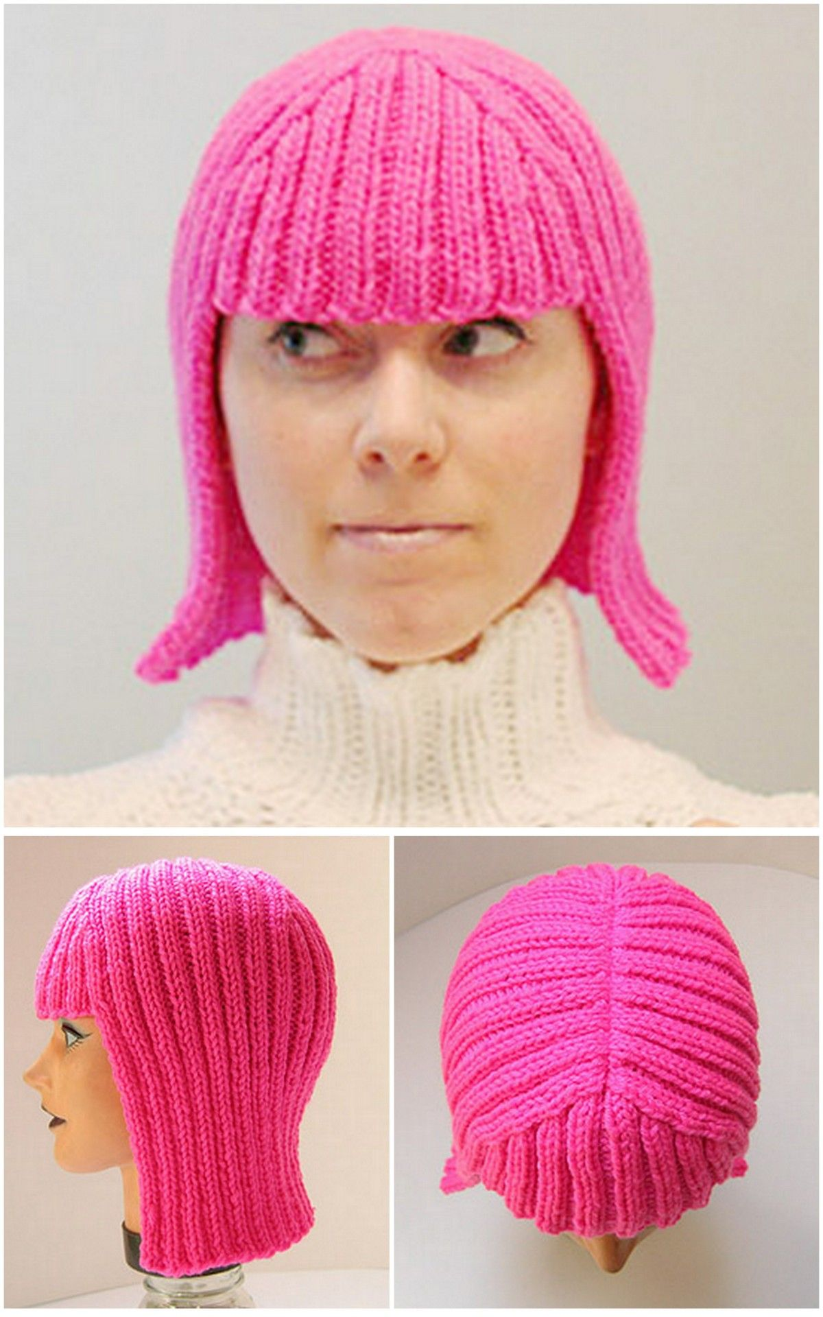 Diy Knit Wig Or The Hallowig Pattern By Megan Reardon On Knitty Com This Is A Pretty Quick Knit Using Size 8 5mm Crochet Wig Pattern Quick Knits Crochet Wig