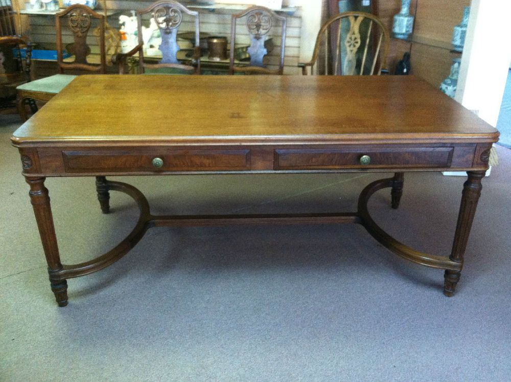 Antique Stow Davis 2 Drawer Conference Table Or Desk Library Ca 1920 Stowdavis