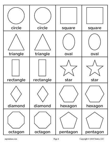 Printable Shapes Matching Memory Game Shapes Kindergarten Shape Activities Preschool Shapes Worksheets Shapes preschool worksheets printables