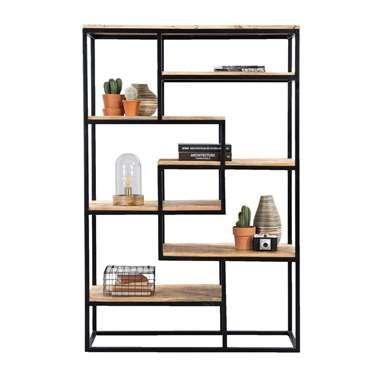 Boekenkast Kyan - zwart/naturel - 180x120x40 cm