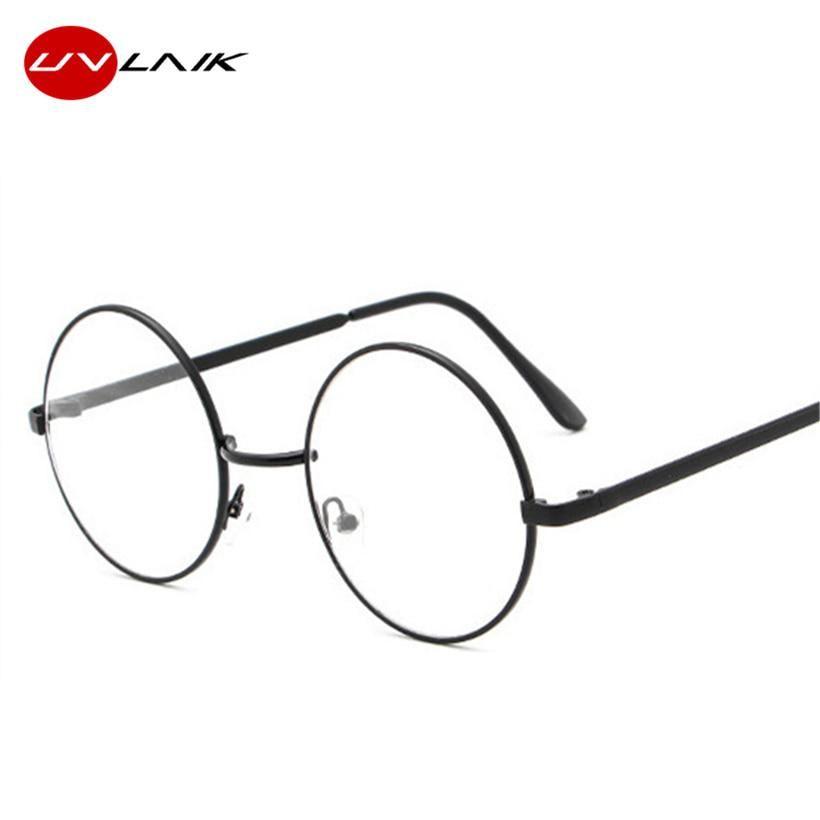 ab8e09d972 UVLAIK Round Glasses Frames Clear Lens Glass Harry Potter Glasses Metal Frame  Women Men Myopia Optical