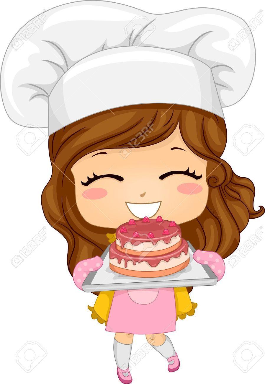 20040500-Illustration-of-Cute-Little-Girl-Baking-a-Cake ...