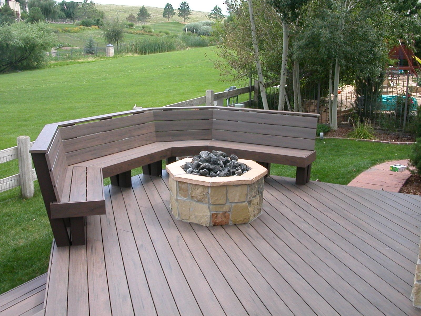 Trex Deck With Benches & Fire Pit Halliday Built Decks