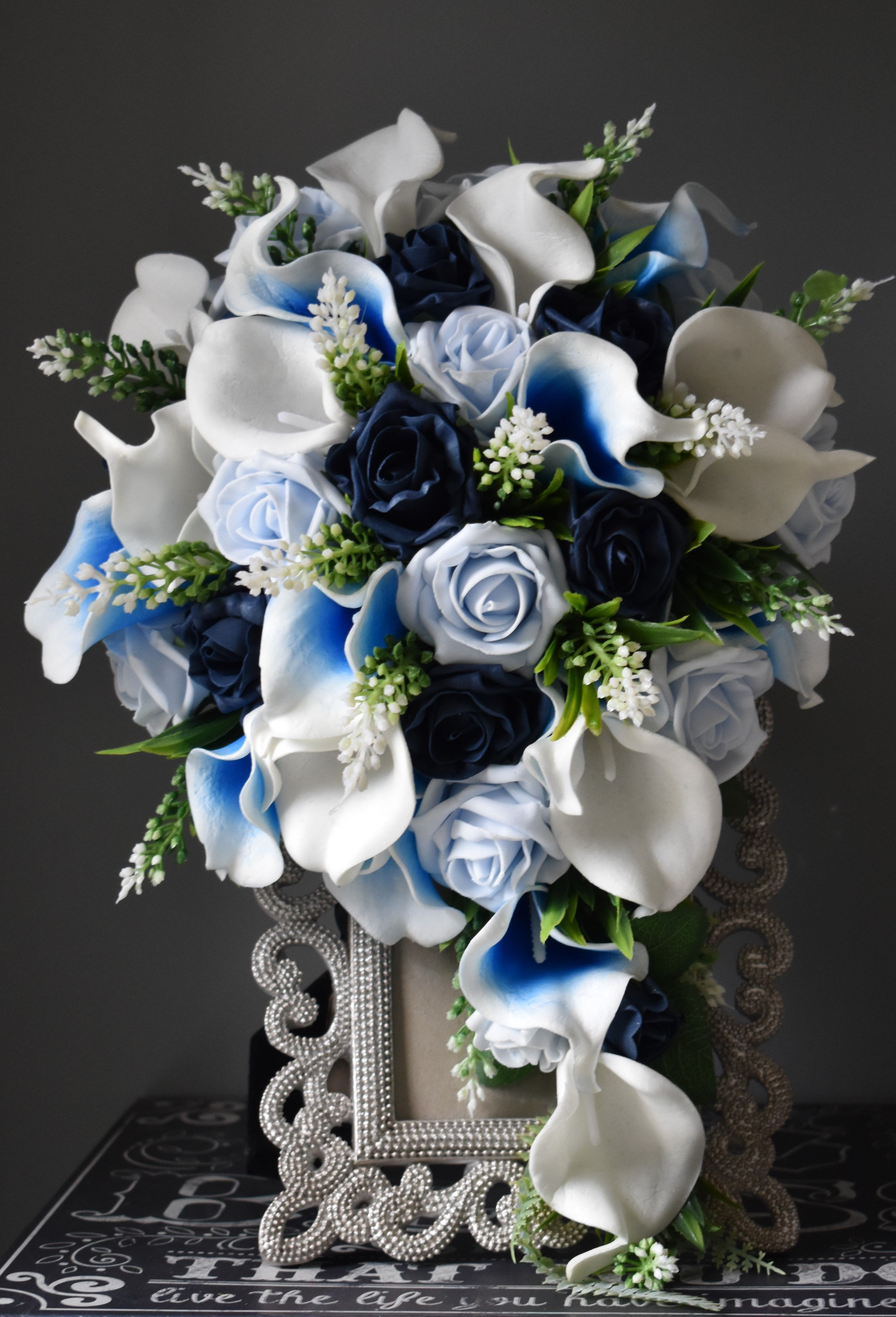 Blue Cascade Bridal Bouquet Special Order For Bride To Be Lucinda Featuring Royal Blue Artificial Flowers Wedding Cascading Bridal Bouquets Wedding Flowers