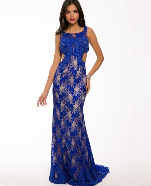 22236-blue lace jovani prom dress 2015 with side cutouts | prom ...