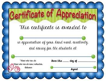 certificate of appreciation with matching notecards
