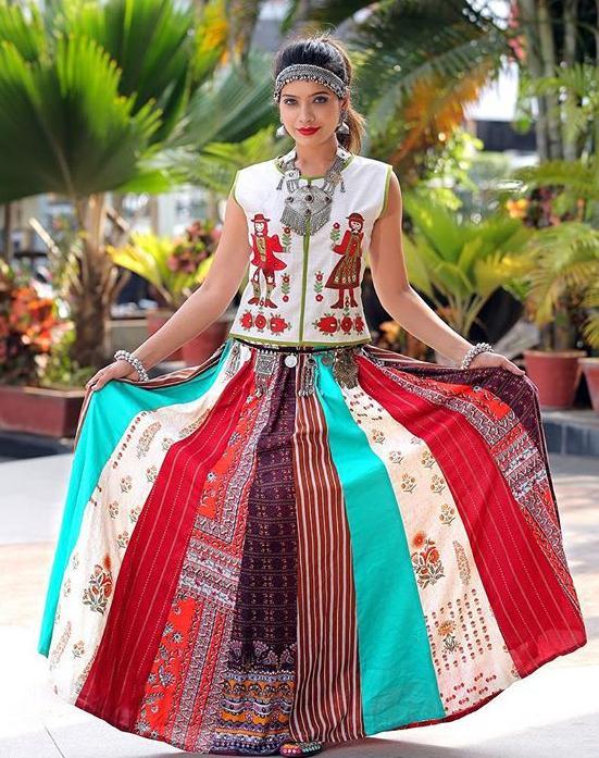 24ca00ae2d9e90 Multicolor Kalidar Printed Chaniya With White Top #multicolor #white # chaniyacholi #navratrispecial #festival