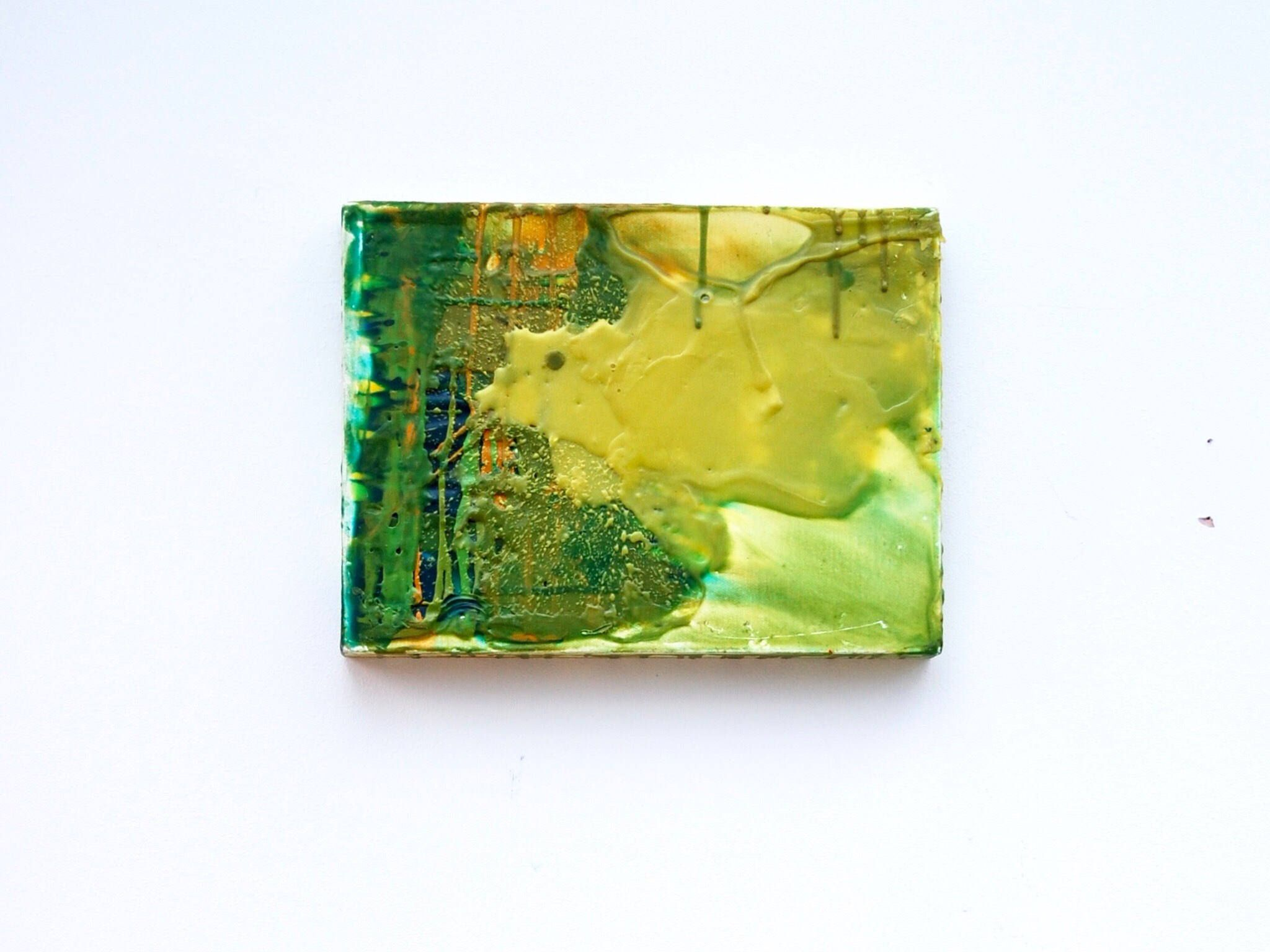 Encaustic Wax Painting on Canvas, Abstract Green Canvas Art ...