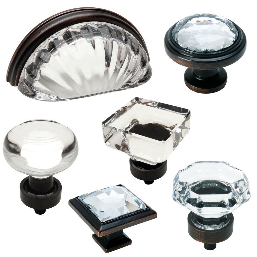 Cosmas Clear Oil Rubbed Bronze Glass Cabinet Knobs, Cup Pulls