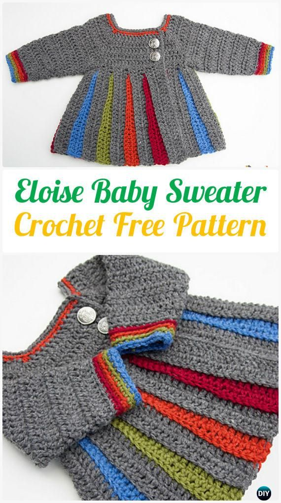 Crochet Kids Sweater Coat Free Patterns | Ganchillo para bebés ...