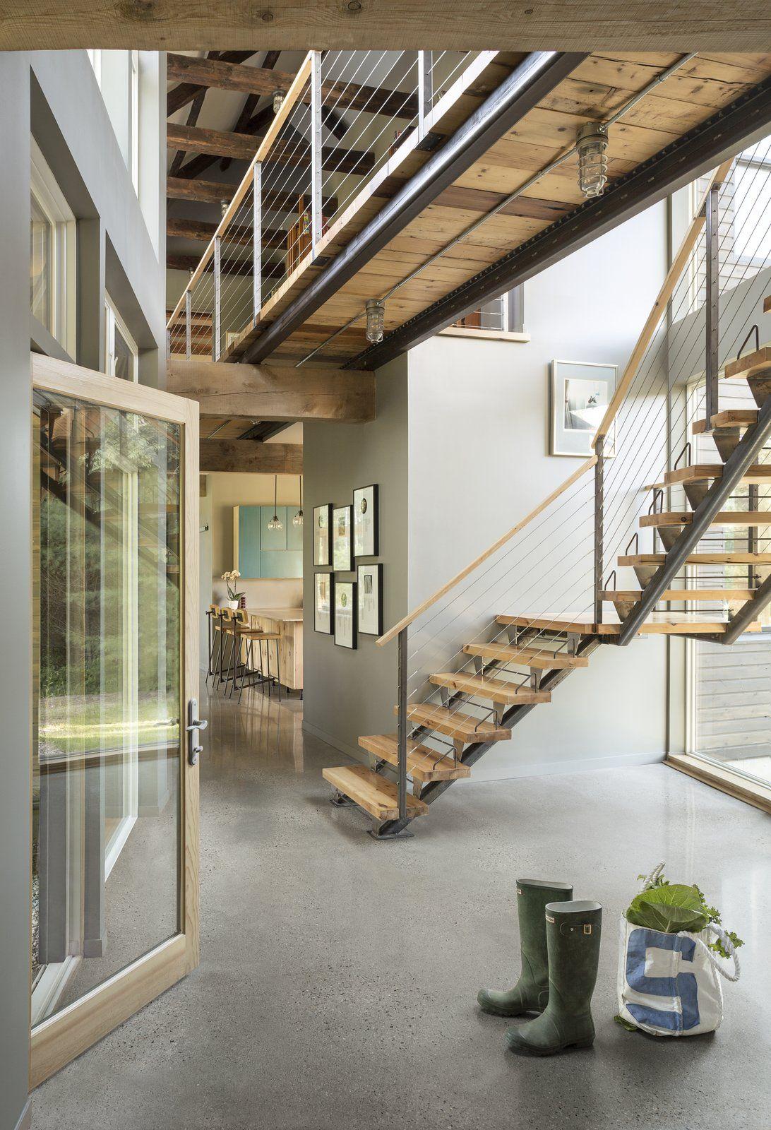 A Maine Farmhouse Built With Salvaged Materials Modern Staircase Staircase Design Modern Farmhouse