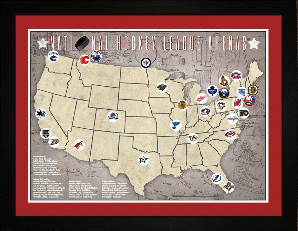 Nhl National Hockey League Arenas Pro Teams Location Map Etsy Baseball Park National Hockey League Major League Baseball