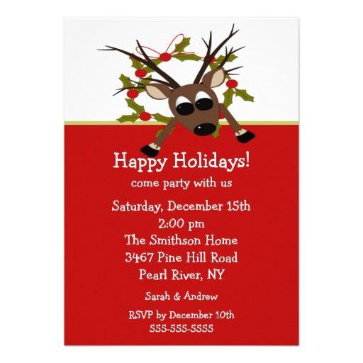 Wacky Reindeer Happy Holiday Party Invitation Festive Zazzler S