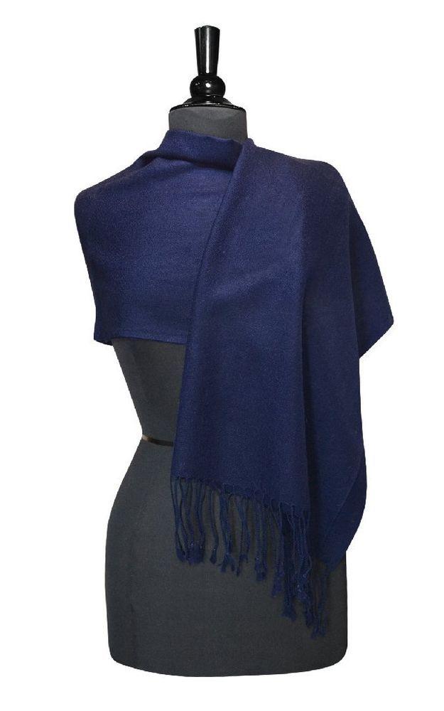 Biagio 100% Wool Pashmina Scarf NAVY BLUE Color Women's Shawl Wrap #Biagio #Pashmina