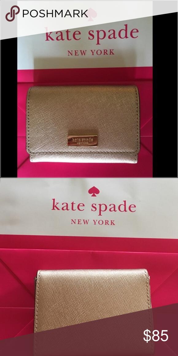 kate spade rose gold business card holdercase nwt  rose