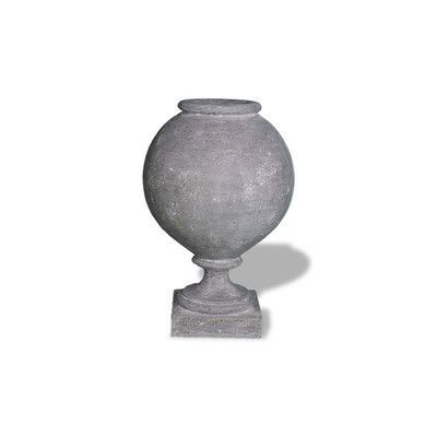 "Amedeo Design ResinStone Pedestal Bowl Urn Color: Lead Gray, Size: 16"" H x 12"" W x 12"" D, Drain Hole: No Drain Hole"