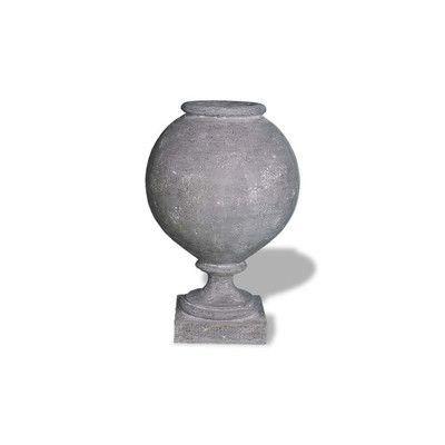 "Amedeo Design ResinStone Pedestal Bowl Urn Color: Lead Gray, Size: 16"" H x 12"" W x 12"" D, Drain Hole: No Drain Hole"