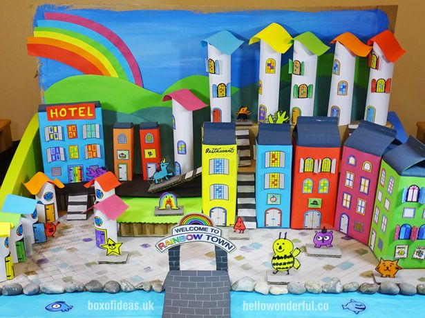 HOW TO CREATE A RECYCLED RAINBOW TOWN WITH KIDS - Recycled crafts kids projects, Recycling projects for kids, Recycled crafts kids, Kids art projects, Fun recycled projects, Fun arts and crafts - HOW TO CREATE A RECYCLED RAINBOW TOWN WITH KIDS