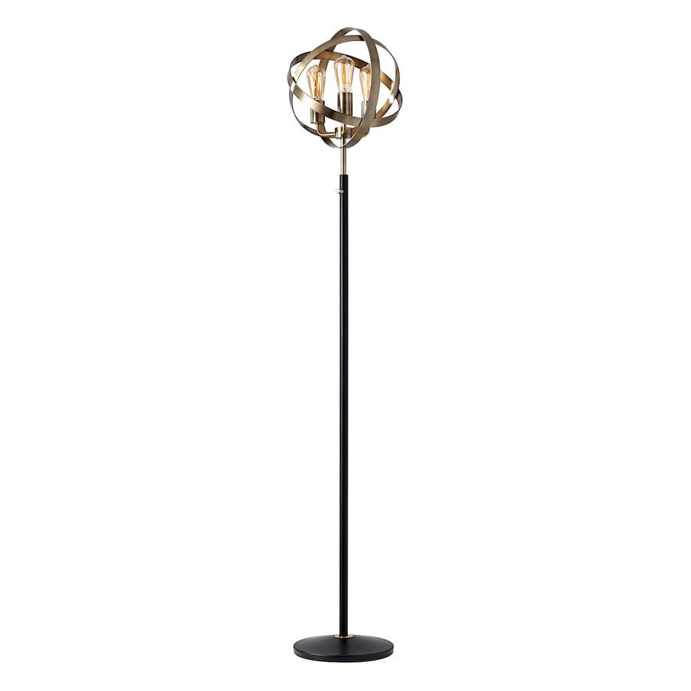 Adesso Donovan 3 Light Edison Bulb Orb Floor Lamp Floor Lamp Edison Bulb Lamp