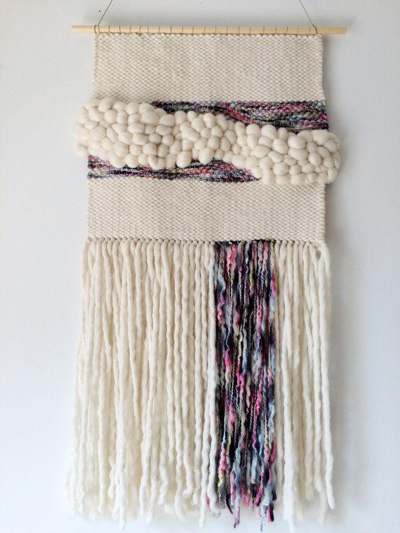 Rainbow & Cream Wool Wall Weaving by SecretWoolSociety on Etsy