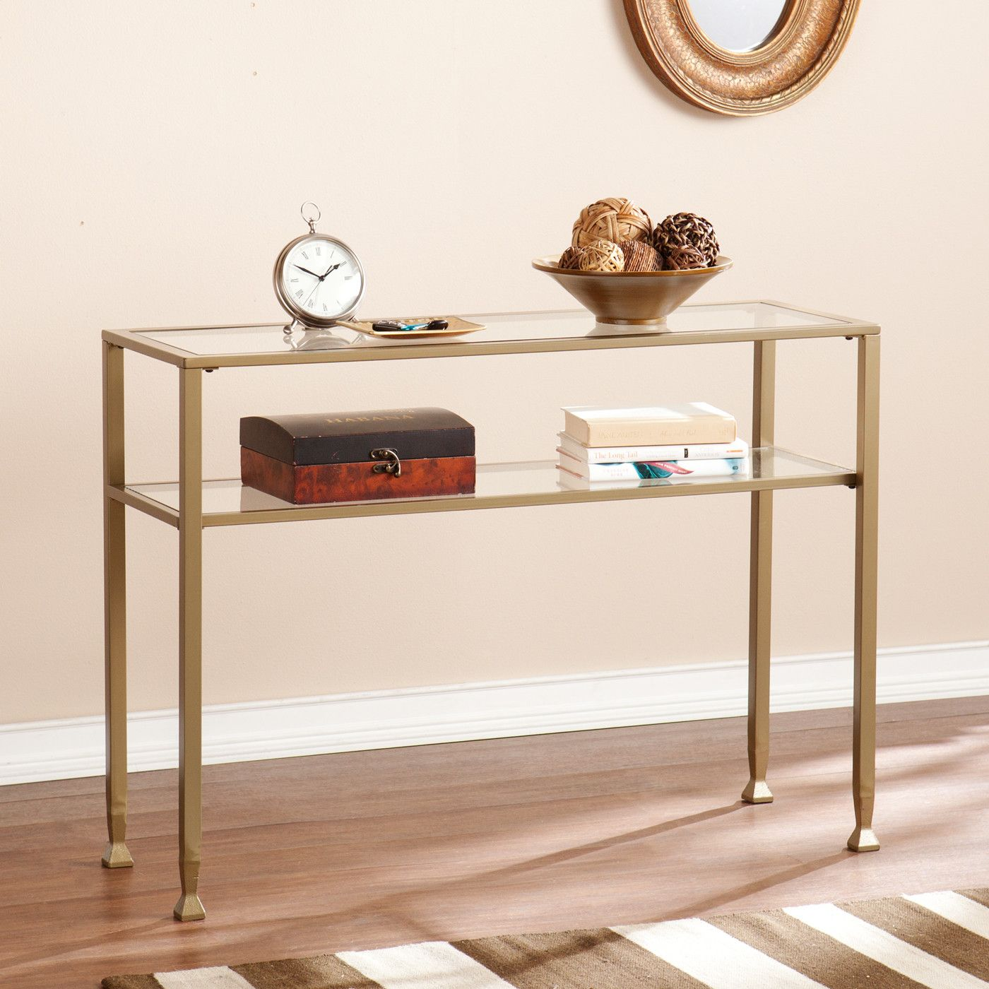Gold Metal And Glass Console Table Console And Sofa Tables