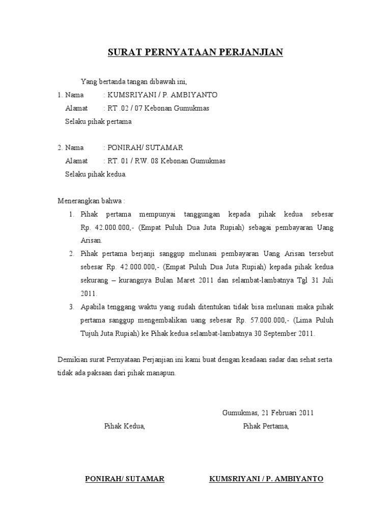 Contoh Surat Perjanjian Word Surat Janji Pernikahan