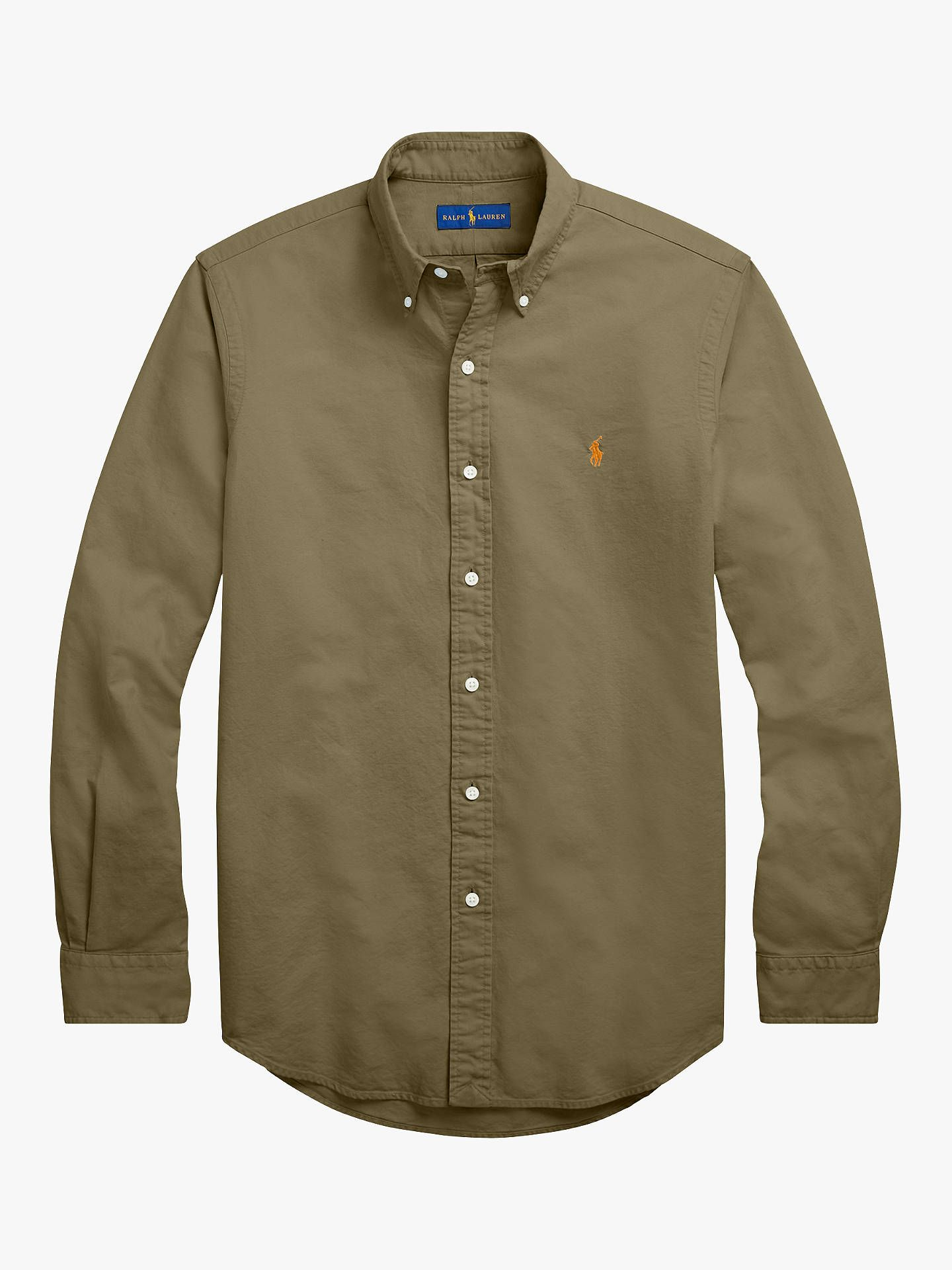 cc59612a4 BuyPolo Ralph Lauren Slim Fit Oxford Shirt, Service Green, S Online at  johnlewis.com