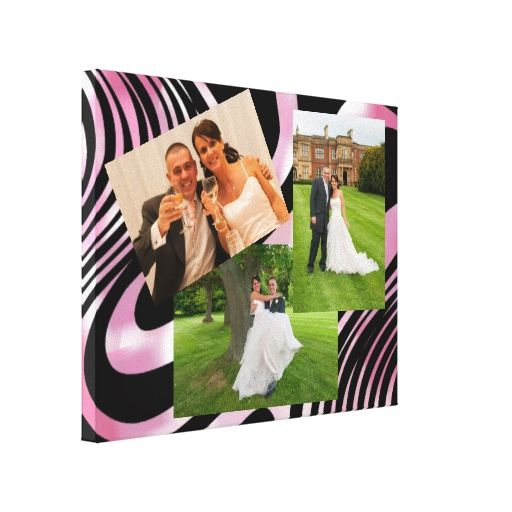 Shimmering Pink and Black Swirls Photo Display Canvas Print