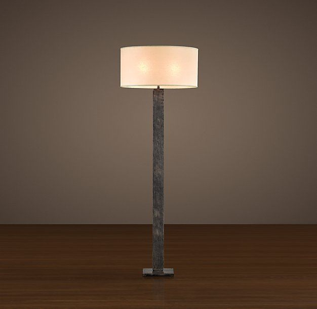 """RH - Square Column Floor Lamp, Vintage Silver USE white shade DIMENSIONS Base: 2¾"""" sq., 60""""H  Sale $295 ($495)"""