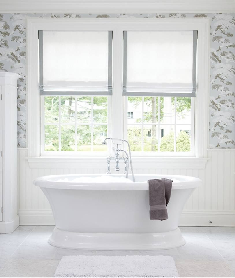 Designer Bathroom Blinds create a relaxed look with soft roman shades! | bathrooms
