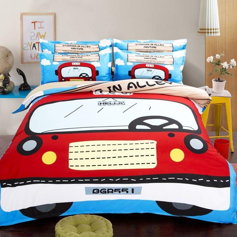Cartoon red car comforter duvet quilt cover double queen single ... : car quilt cover - Adamdwight.com
