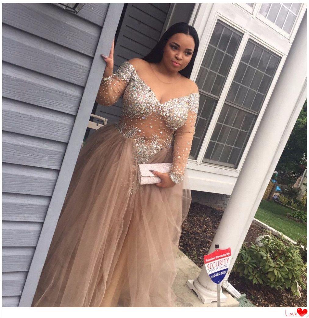 Prom dressprom dress longplus size prom dress with rhinestones