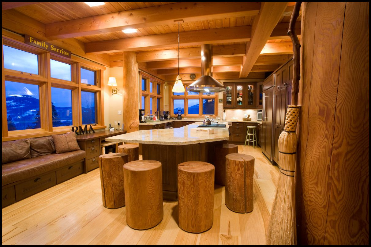 log home kitchen islands | ... kitchen is the unique log-stool ...