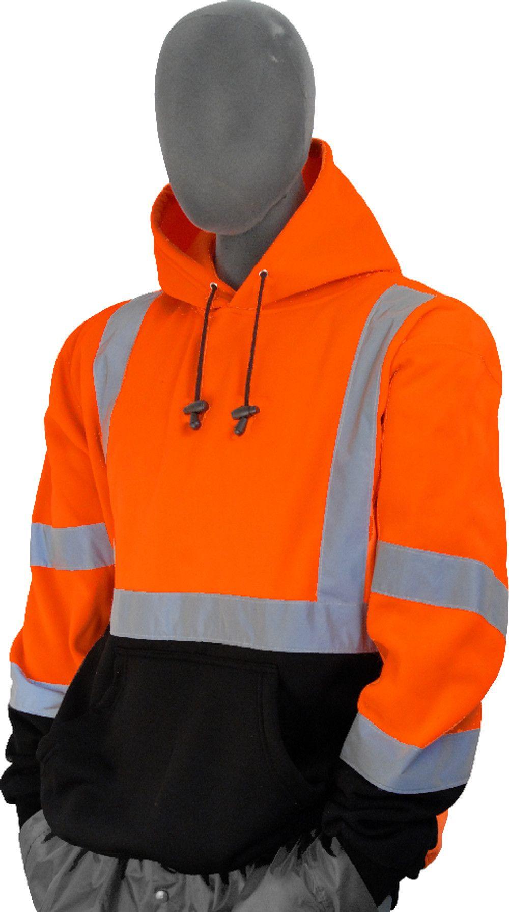 Majestic 755328 hi vis orange pullover sweatshirt ansi