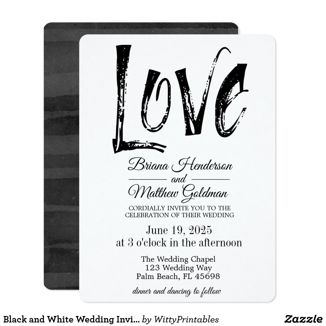 Black And White Wedding Invitation Typography All Things Wedding