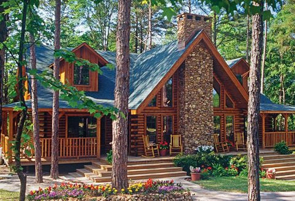 30 Cool Cabin Home Design Ideas That Is Simple Semi Modern Log Cabin Homes Log Homes Cabin Homes